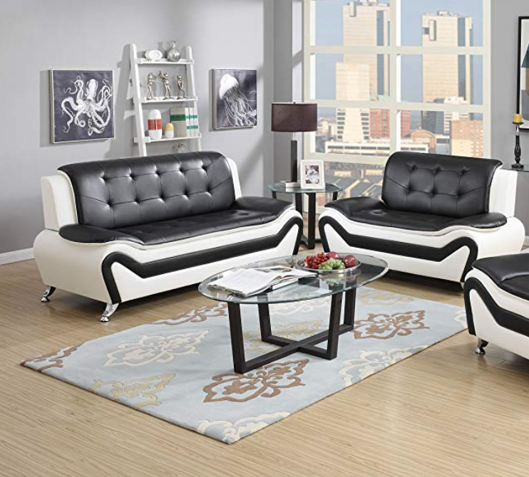Piece Modern Bonded Leather Sofa Set